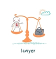 Lawyer is on the scales with a suitcase vector