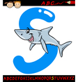 Letter s for shark cartoon vector