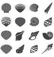 Sea shell flat mono icons set vector