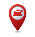 Map pointer with dining room icon vector