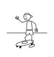 Stick figure skateboard vector