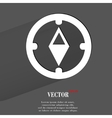 Compass flat modern web button with long shadow vector