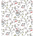 Garden with birds seamless pattern vector