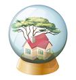 A concrete house inside the crystal ball vector
