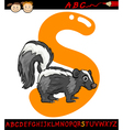Letter s for skunk cartoon vector