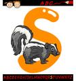 Letter s for skunk cartoon vector