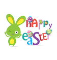 Holiday background with cute bunny and egg vector