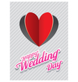 Heart shape paper cut background and wedding text vector