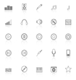 Music line icons with reflect on white background vector