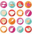 Sea shell flat and summer icons set vector