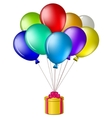 Balloons with a gift box vector
