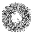 Retro grapes wreath black and white vector