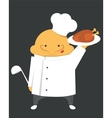 Cook in a white robe with hat and scoop vector