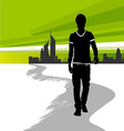 Running man in the city vector