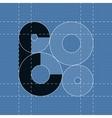 Round engineering font symbol e vector
