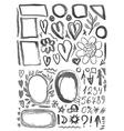 Characters frames figures heart arrow black ink vector