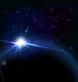 Rising sun over the planet space background vector