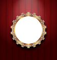 Ornate picture frame on wooden wall vector