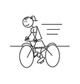 Stick figure cycling female vector