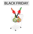 Guitar with ribbon in black friday shopping cart vector