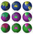 Set of globes in different colours vector