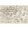 Set of different doodles on a spring theme black vector