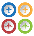 Set of four colored icons with airplane vector