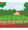 Harvest a crop of apples in a highland orchard a vector