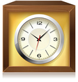 Golden clock in wooden box vector