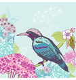 Bird with flowers background vector