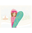 Girl with the snowboard on winter landscape vector