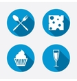 Food icons muffin cupcake symbol fork spoon vector