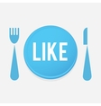 I love food - plate button with fork and knife vector