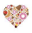 Desserts in heart vector