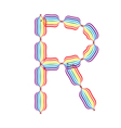 Letter r made in rainbow colors vector
