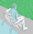 Man on the bench vector