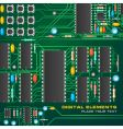 Circuit board with microchips vector