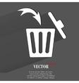 Trash bin flat modern web button with long shadow vector