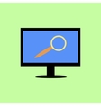 Flat style computer with magnifying glass vector