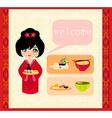 Sweet girl enjoy sushi - foods set vector