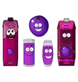 Happy purple plum with cartoon juice drinks vector