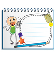 A notebook with a drawing of a boy holding a radio vector