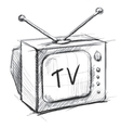 Retro tv with antenna vector