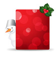 Snowman man with blank gift tag and holly berry vector
