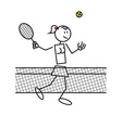 Stick figure tennis female vector