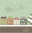 Christmas card with a winter town vector