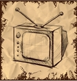 Retro tv with antenna on vintage background vector