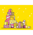 Large pile of pink and yellow gifts stand vector