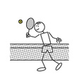 Stick figure tennis vector