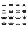 Different crowns silhouettes collection vector